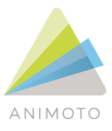 Animoto logo which consists of a green, blue and grey triangle with the words animoto underneath