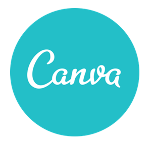 Canva logo consisting of a light blue circle with the words canvs written in white in the middle