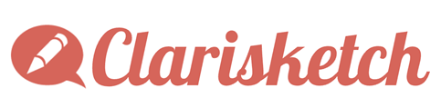 clarisketch with logo consisting of a red speech bubble with a pen inside