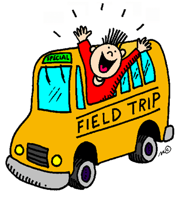 Image of a yellow bus with the writing 'field trip' on the side. A happy person is leaning out of 1 of the windows with their arms in the air indicating that they are having a good time