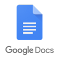 Google docs logo consisting of a blue page with white lines on it and the words Google Docs underneath