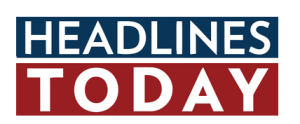 the word headlines written in white on a blue rectangle with a red rectangle underneath with the word today written in white