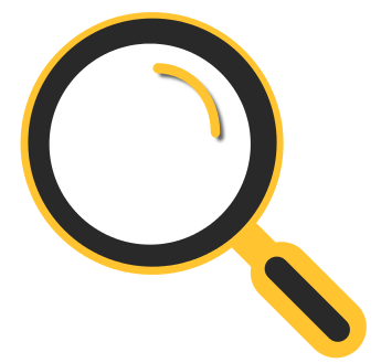 A yellow magnifying glass