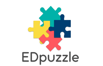 Ed puzzle logo. It has 4 coloured jigsaw pieces with the word edpuzzle written underneath.