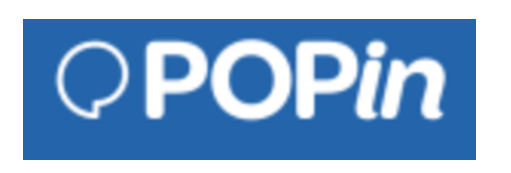 a blue rectangle with a white speech bubble and the word pop in written in the centre in white