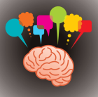 Image of a brain with different coloured speech and thought bubbles around it