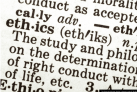closeup picture of a dictionary showing a partial definition of ethics