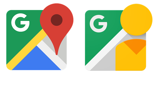 2 logos: google maps and google street view