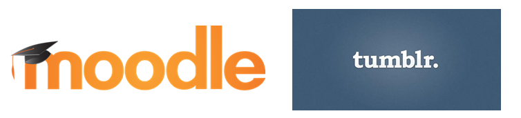 2 logos: moodle and tumblr