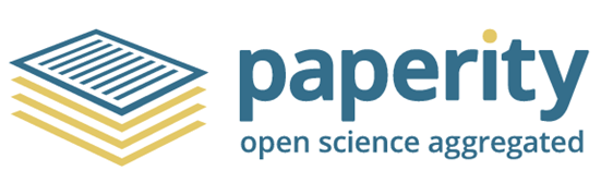 Paperity logo: a pile of papers with the words paperity, open science aggregated.