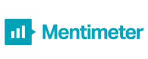mentimeter logo. A blue square speech bubble with the words mentimeter written afterwards
