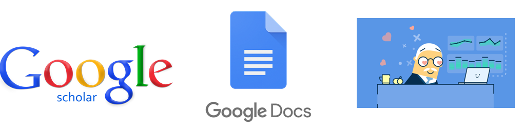 3 logos: scholar, google docs and peergrade