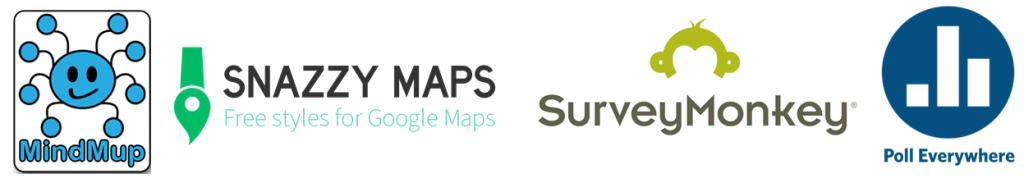 4 logos: mindmup,snazzymaps, surveymonkey and poll everywhere