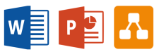3 logos:word, powerpoint and draw.io