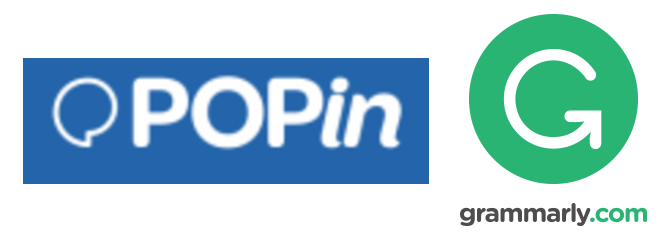 2 logos: Popin and the letter G for Grammarly