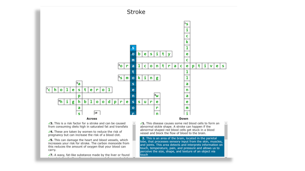A screenshot of crossword labs. It shows a completed crossword with examples of some clues