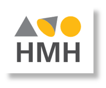 HMH logo - HMH written in black with a triangle , cone and circle shape above each letter